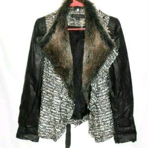 Stella & Jamie Boucle Jacket Faux Leather Sleeves